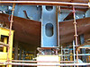 View of the large skeg keel near the stern which will give the necessary strength and support in the viscinity of the rudder and propellers