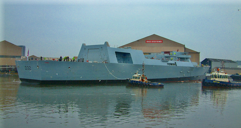 Launch of HMS Daring at BAE Systems' Scotstoun shipyard, 1st February 2006.
