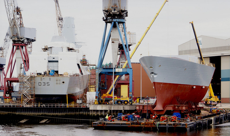 HMS Dragon (left) and the newly-delivered bow section of HMS Defender at Govan, 5th July 2008