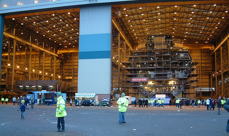The view from the building berth over to Bays 2 and 3 of the module hall with two sections of Yard No 1063, which will be named HMS Diamond when launched into the Clyde on 26 November 2007, already well underway.
