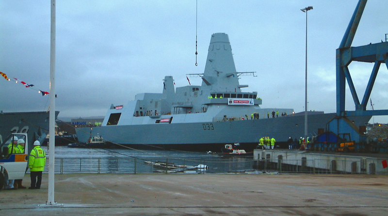 Dauntless was towed downriver to the Elderslie drydocks at BAE Systems Scotstoun yard where she will be fitted out prior to delivery to the Royal Navy in 2009.