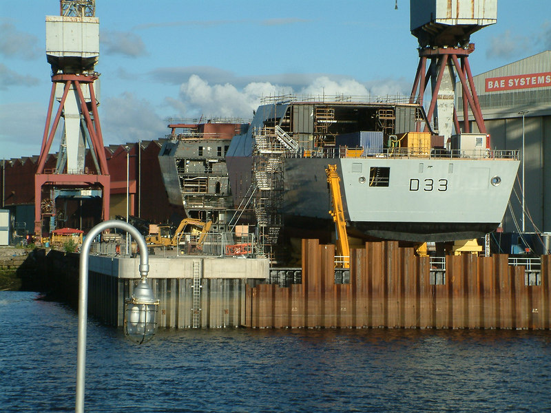 The remaining five Type 45 destroyers on order will be assembled and launched from the open berth at BAE Systems' Govan Shipyard on the south bank of the River Clyde in Glasgow. The first pre-assembled block (module) of the second Type 45, HMS Dauntless, was moved onto the berth in the spring of 2006. This view shows three blocks on the berth on 24th June 2006