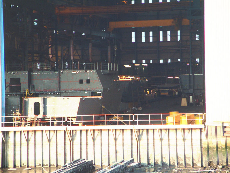 A further view of the first sections for the future HMS Daring being assembled at Scotstoun, 14th August 2004.