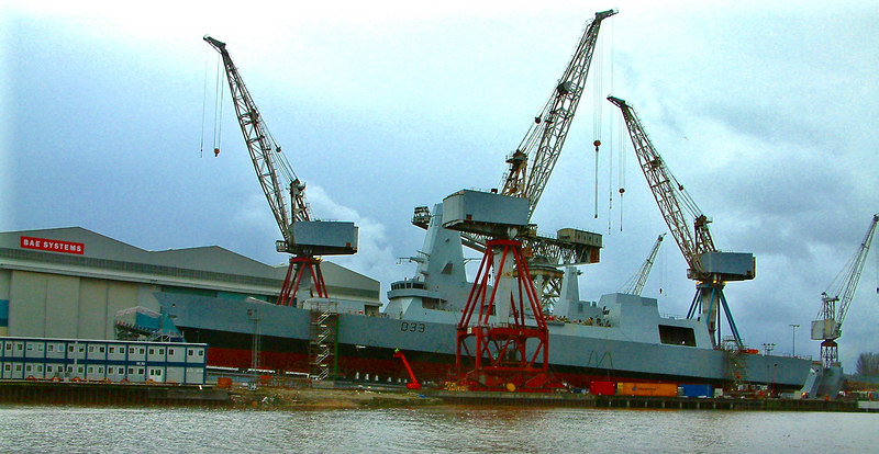 Dauntless on the ways at Govan - three days before launch, 20th January 2007