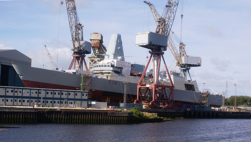 Yard No 1063, the third Type 45 destroyer, HMS Diamond, coming together at Govan on 26th August 2007.