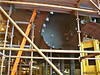 One of the openings in the aft hull section through which one of the large propeller shafts will pass. The propellers will be driven by Alsthom electic motors powered by generators driven Rolls Royce WR gas turbines. As a result of this configuration the ship will have no gearboxes.