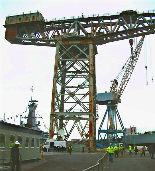 A further view of the Arrol crane at Govan. The 'Fairfield Crane' was a B listed structure (indicating significant architectural/industrial heritage value) but permission was granted for its demolition to enable the yard to be modernised. Only around 60 cranes of this type were ever built worldwide, many of them in Glasgow - by Sir William Arrol & Company and the Parkhead Electric Crane & Hoist Company . By the end of 2007, following the demise of this crane, the total still in existence had fallen to about 14 worldwide, four of which are on Clydeside.