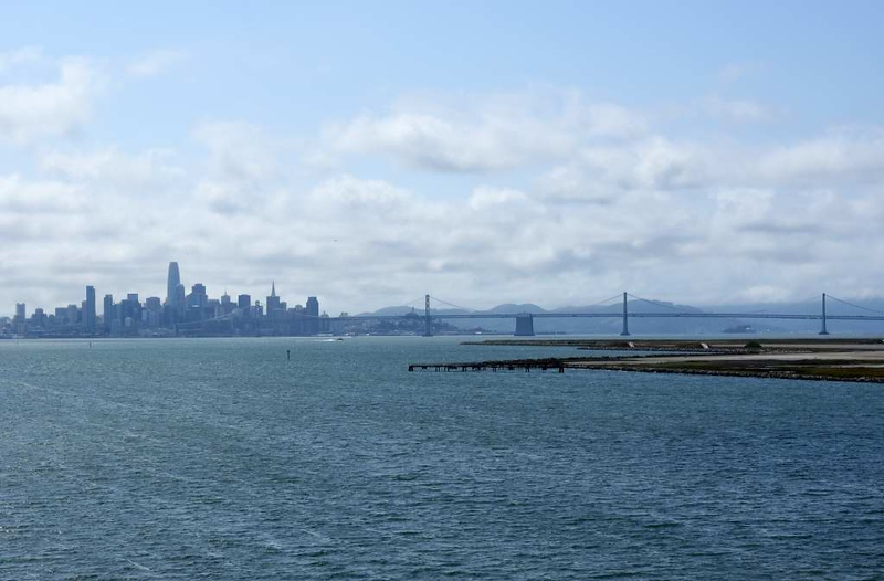 San Francisco and the Bay Bridge from USS Hornet (CV-12), Alameda, California, 9 May 2019