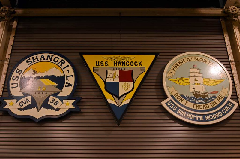 Essex class ships' badges, USS Hornet, Alameda, California, 9 May 2019.  USS Hancock was CVA-19.  No fewer than 24 Essex class carriers were built, most during the Second World War.  Hornet is one of four to have been preserved.