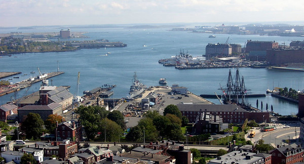 Charlestown Navy Yard, Boston, Mass, 6 October 2005.  A view from the Bunker Hill battle memorial.  The yard is part of Boston National Historical Park, administered by the US National Park Service.  Cassin Young can be seen just left of centre.  At right is USS Constitution, 'Old Ironsides'.