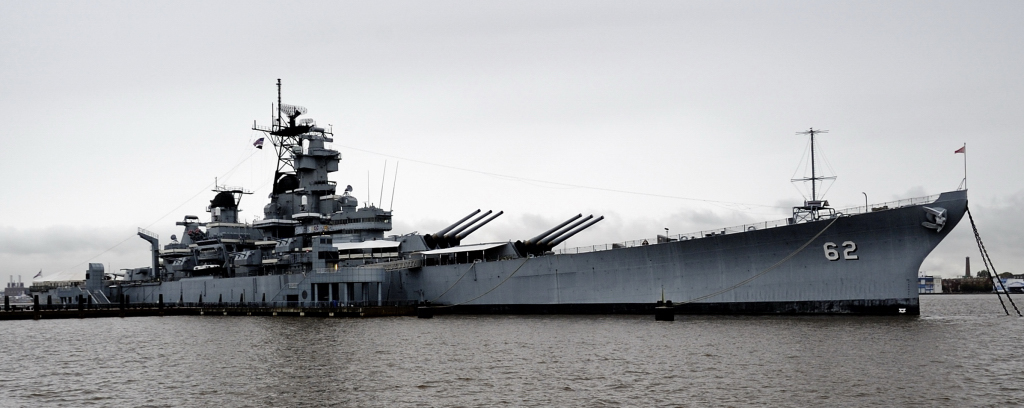 USS New Jersey (BB 62), Camden, New Jersey, Tues 5 October 2010 1    Welcome to USS New Jersey!  Now preserved in her name state, she was built only a few miles away in the Philadelphia Navy Yard.  Commissioned in May 1943, she is the second of four 57,000 ton, 32 knot Iowa class battleships, undoubtedly the ultimate development of the big gun ship.  She served in the Pacific against Japan, and later in the shore bombardment role in Korea, Vietnam and Lebanon.  Extensively modernised with missiles in the early 1980s, she was finally retired in 1991.  Here are 27 photos.