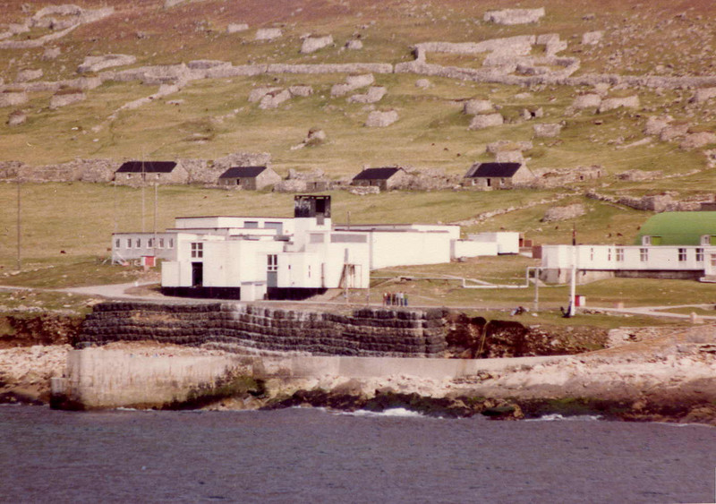 The settlements on Hirta, St Kilda. In the background is The Street of former islanders homes (some recently restored at the time); in the foreground is the buildings of the more recent military establishment.