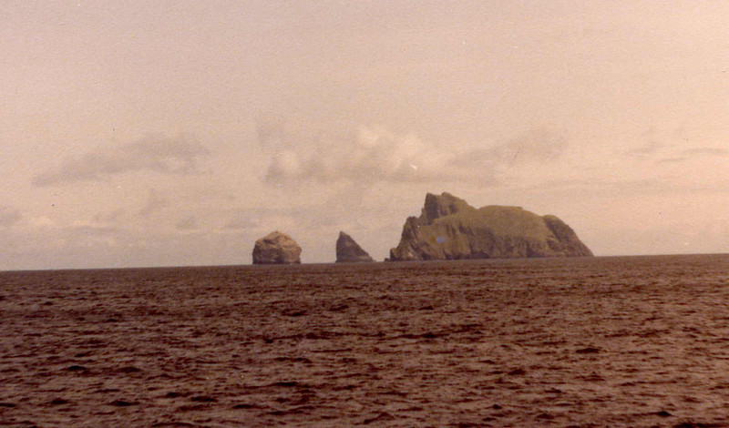 The main part of the St Kilda group consists of the islands of Hirta, Dun and Soay but another part of the group lies several miles to the east. It was seen as we headed into Village Bay. It consists of the island of Boreray (right) and the massive rock stacks of Stac An Armin (middle) and Stac Lee (left).