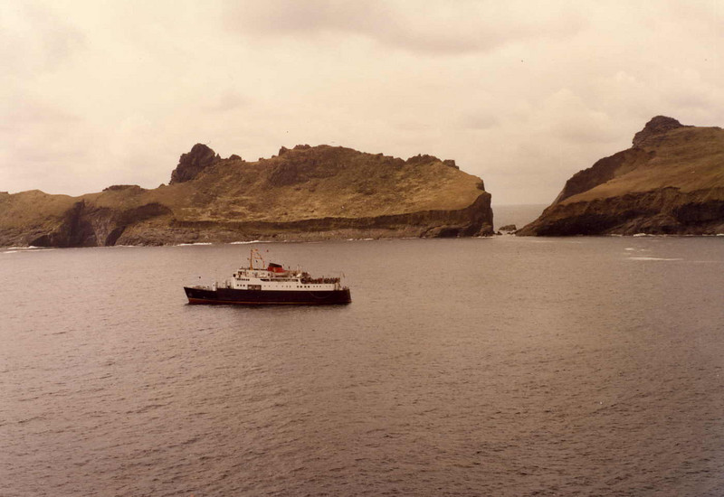 Motor Vessel Columba in Village Bay, St Kilda as seen from above the village on Oeseval