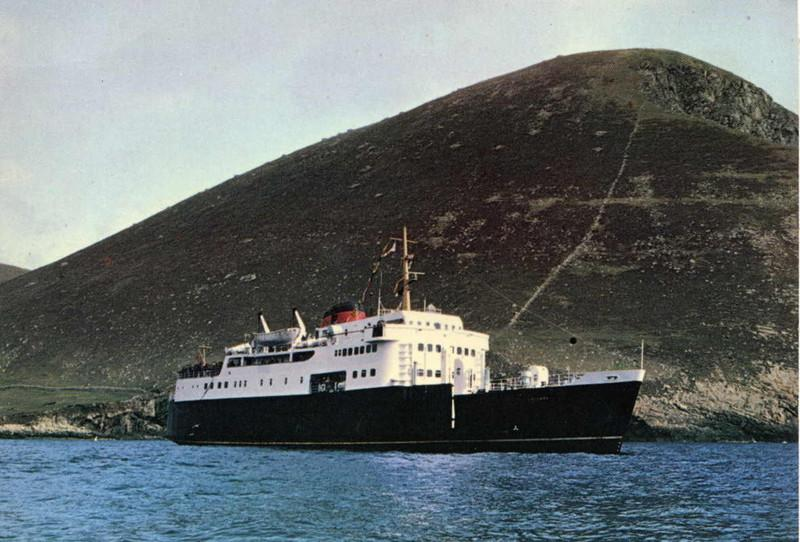 Motor Vessel Columba on her first visit to St Kilda, 6th May 1979<br /> <br /> The steep slopes of Oeseval behind.