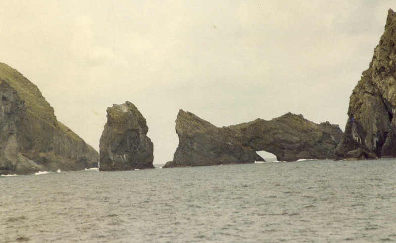 Stac Biorach and Stac Soay in the Soay Sound between the islands of Hirta and Soay.