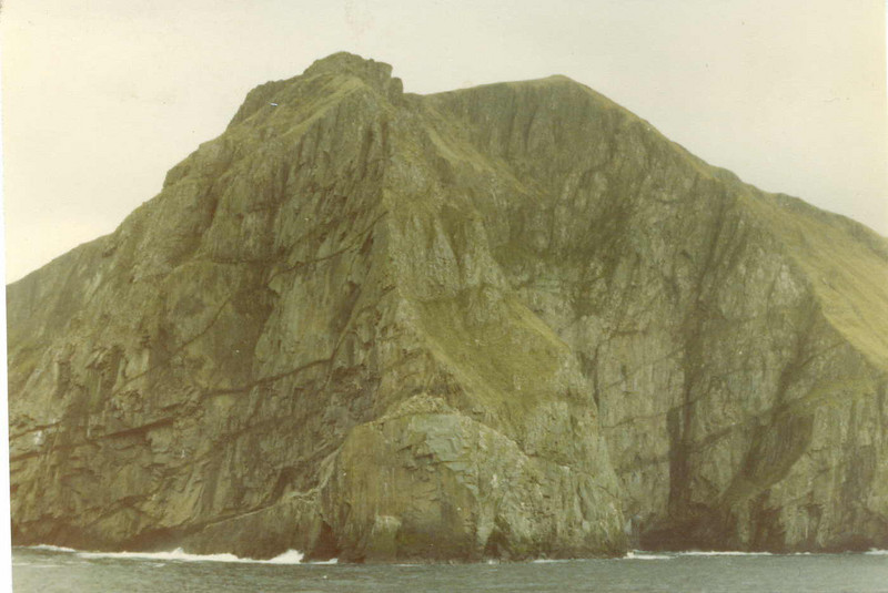 View from Columba sailing under the Connachair cliffs on Hirta - at over 1200 feet high these cliffs were described as the highest in the UK.
