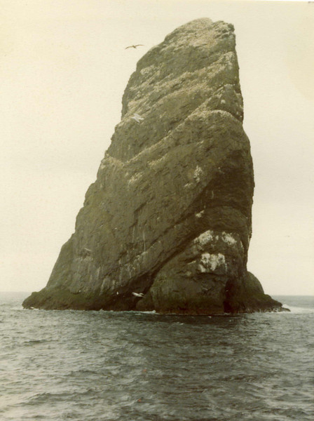 Stac An Armin from the narrow channel between it and Boreray