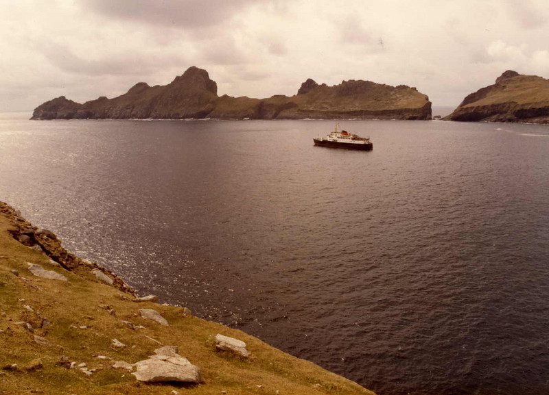 Motor Vessel Columba in Village Bay, St Kilda with the island of Dun in the background.