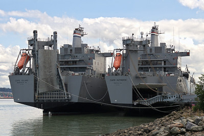 SS Cape Island (AKR-10) and SS Cape Intrepid (AKR-11) Both ships laid up in reserve in Tacoma. Can be activated in five days if needed.