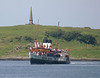 The paddler comes back round to port and set for the front berth of the North Pier - beyond on the Kerrera hillside is the well known monument to highland steamboat pioneer David Hutcheson, founder of 'MacBraynes'