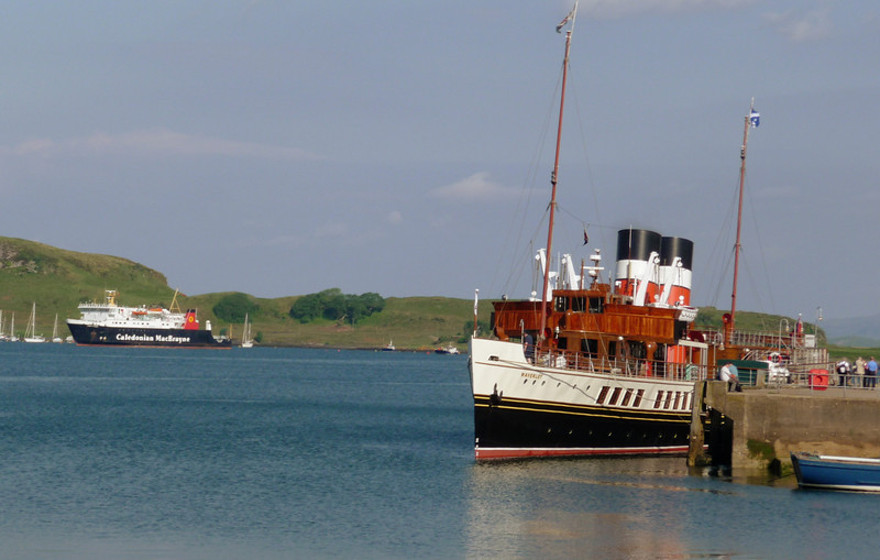 Due to the lack of berths at Oban the CalMac ferry Lord of the Isles had gone to anchor overnight in Ardantraive Bay, Kerrera - near the terminal for the new Glasgow - Oban seaplane service.