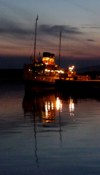 Waverley at Oban North Pier at the end of a wonderful day - on only the second day of her 2009 season she had carried almost 1000 passengers.