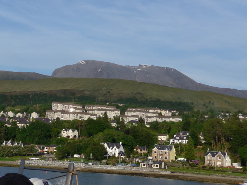 Fort William and the massive bulk of Ben Nevis, the UK's highest mountain, beyond