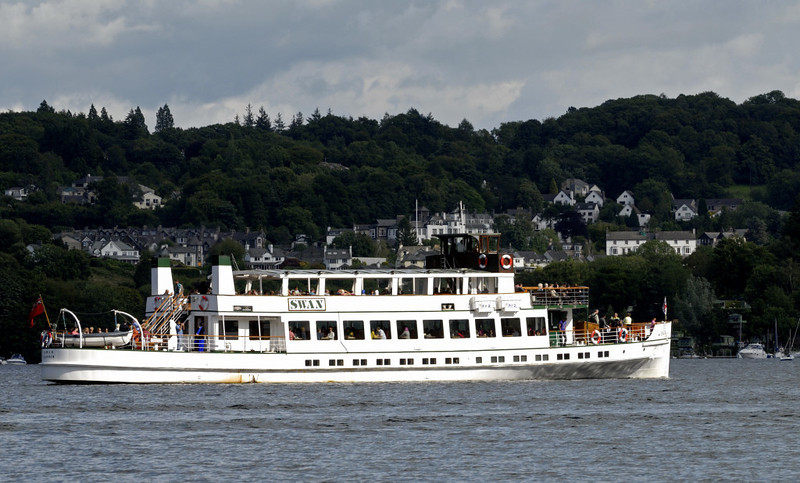 Swan, approaching Bowness, Lake Windermere, Sat 23 July 2011.  Vickers built Swan for the LMS in 1938.  She has always been diesel-powered.
