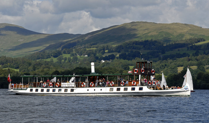 Tern, Lake Windermere, Sat 23 July 2011 2: between Waterhead and Bowness.  Tern has a unique canoe-shaped bow.  She was modified in 1990 to something like her original 1891 appearance.