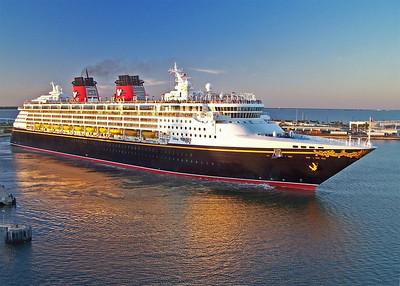 Disney Wonder leaving Port Canaveral, FL at sunset. 2009