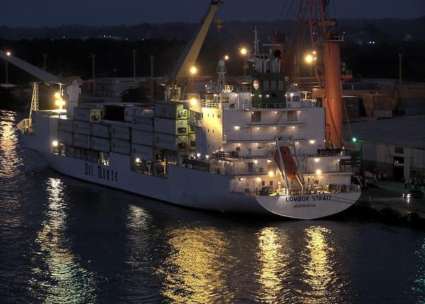 Del Monte cargo ship Lambok Strait loads through the night at Santo Tomas, Guatamala. 2008