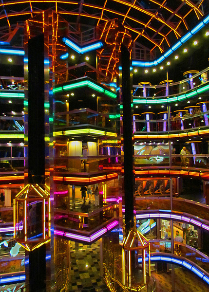 "The 6 story Grand Atrium of the Carnival Cruise ship ""Fascination"" 2013."