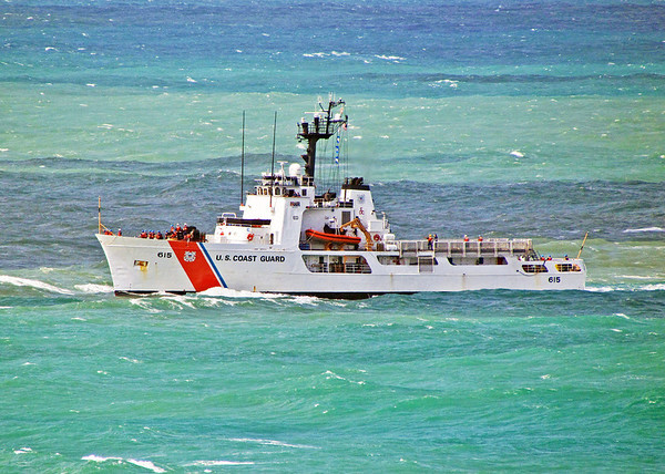 USCG Cutter Reliance negotiates shallow waters outside of San Juan harbor, Puerto Rico. 2012.