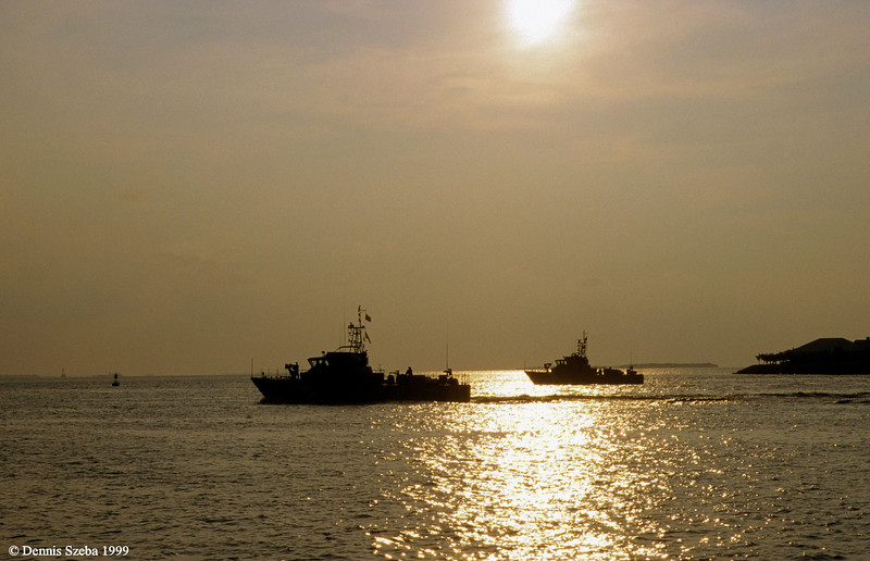 Venezualan patrol boats depart Key West, FL after a port visit. 1999.