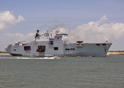British Aircraft carrier HMS Ocean departs from Morehead City after a visit. 2010.
