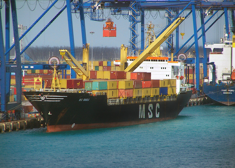 MSC Sahula unloading in Freeport, Bahamas. 2009.