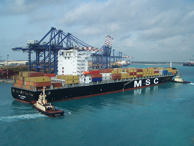 MSC Cordoba being pushed into a berth in Freeport Bahamas, 2009.