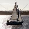 A sailboat cruising near the Port of San Diego, California.