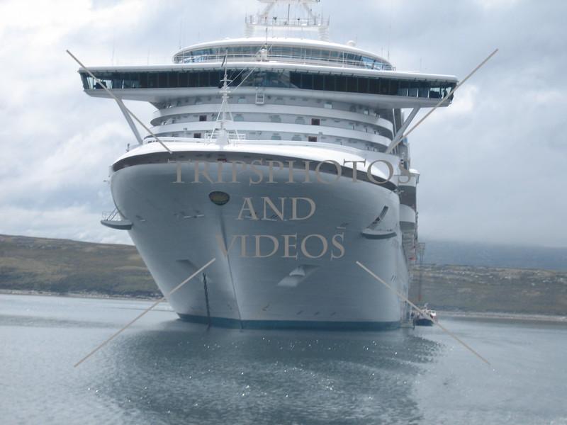 Star Princess cruise ship anchored off the coast of Falkland Islands.