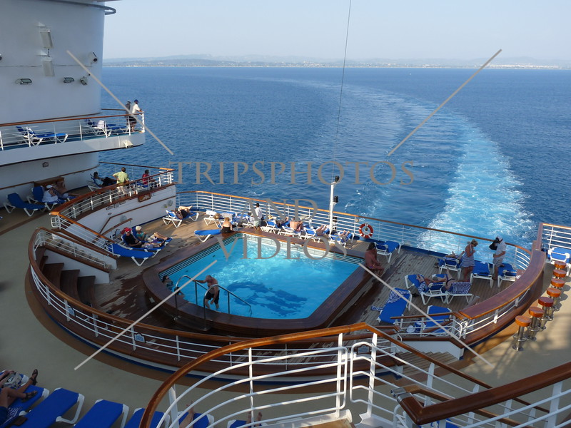 Star Princess cruise ship sails away from Katakolon, Greece.