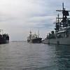 Date:  1989 - Location:  Norfolk, VA<br /> Class:  Boris Chilikin class fleet oiler<br /> Name:  Genrikh Gasanov (middle of image)<br /> Pennant Number:  619