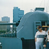 """Date: unknown<br /> Location: Baltimore, MD<br /> USS Spartanburg County, LST-1192<br /> Twin 3"""" 50 caliber gun mount"""