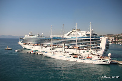 EMERALD PRINCESS Departing Kusadasi WIND STAR 22-07-2015 15-12-41