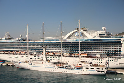 EMERALD PRINCESS Departing Kusadasi WIND STAR 22-07-2015 15-11-49