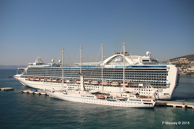 EMERALD PRINCESS Departing Kusadasi WIND STAR 22-07-2015 15-11-58