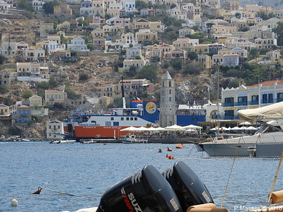 PANAGIA SKIADENI Arriving with Clock Tower Ano Symi PDM 12-09-2018 13-06-18