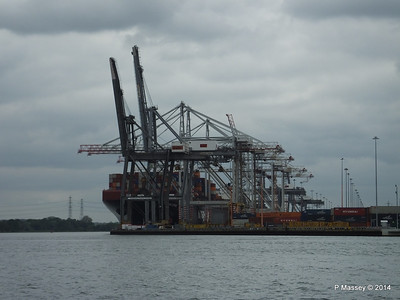 HAMBURG EXPRESS behind the cranes Southampton PDM 02-05-2014 14-52-42