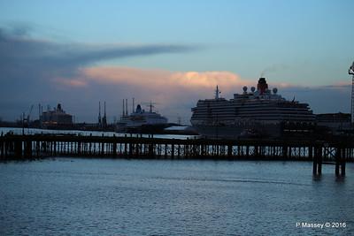 QUEEN VICTORIA SAGA SAPPHIRE QUEEN ELIZABETH over Royal Pier Southampton PDM 10-01-2016 08-31-10