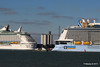 ANTHEM OF THE SEAS Maiden Voyage Passing EXPLORER OF THE SEAS Southampton PDM 22-04-2015 17-37-48